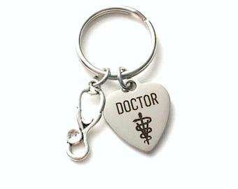 Veterinarian Key Chain, Gift for Vet Key Chain, Stethoscope Animal Doctor Keyring, Letter women her Birthstone Initial Present him men dad