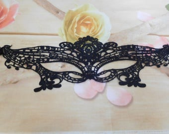 Black lace mask, masquerade, gothic