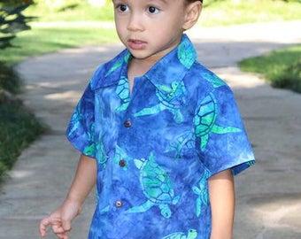 infant Boy Hawaiian Aloha Shirt........*Handmade in Hawaii short sleeve keiki shirts with coconut buttons