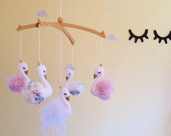 Swan baby mobile- swan nursery decor- swan mobile- baby girl mobile- nursery mobile- baby mobile- swan room decor