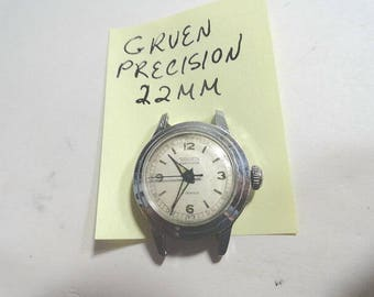 Vintage Gruen Precision Lady's Wrist Watch Parts or Repair 22mm