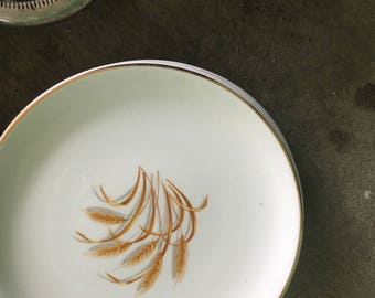 Vintage Golden Wheat bread plates, cups, and salad bowl