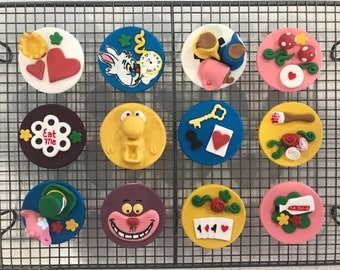 12x Edible Alice in Wonderland cake toppers