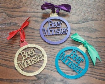 Beer monster wooden laser cut bauble