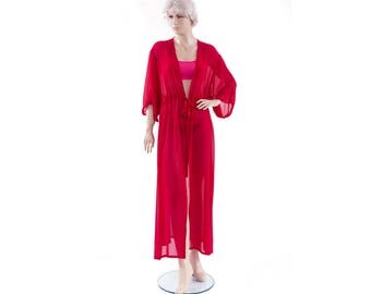 Chiffon sheer kimono Kaftan dress in red with short sleeve ,sheer woman robe ,elegant beach cover up,women's beach kaftan dress