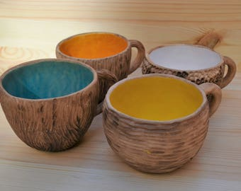 Tazza da tè, Hand made ; tazza per il tè; tazza fatto a mano; terracotta; smaltata; tazza mug, tazza rustica, Pokutska Keramika