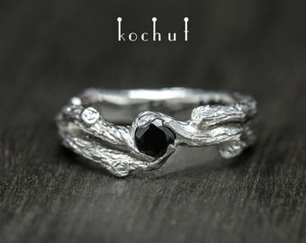 Spinel ring, black spinel ring, silver twig ring, spinel branch ring. Black gemstone ring from Kochur twig collection.