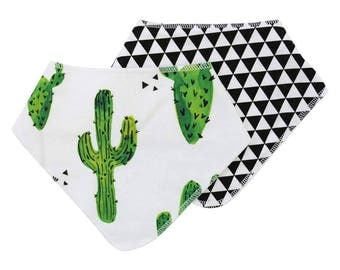 Prickly Cactus Baby Bibdana | Green Cactus Baby Gift | Cactus Newborn Bib | Drool Bib | Teething Bib | Green, Black & White