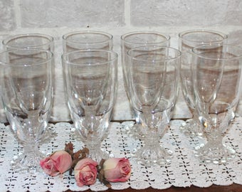Berwick, Boopie Bubble glasses 14 ounce ice tea by Anchor Hocking, large clear glass set lot, Made for Fire King Bubble line