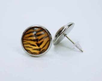Earrings Tiger fur pattern in silver studs - Brown, orange - animal earrings pair of earrings animal print