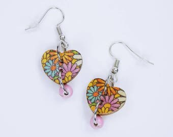 Earrings heart with colorful flowers and pearl in pink on silvery earrings wooden pendant earrings jewelry flowers in yellow, light blue, orange