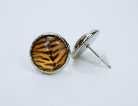 Earrings Tiger fur pattern on silver studs-brown, orange-animal stud earrings pair of earrings animal print
