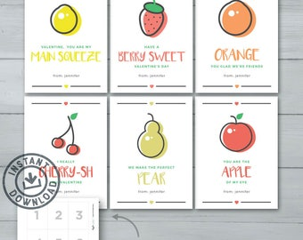 Kids Valentine cards | Fruit Valentines  |  Lemon, Strawberry, Orange, Cherries, Pear, Apple Kids Valentines | Instant Download
