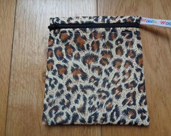Snack Bag - Bikini Bag - Lunch Bag - Make Up Bag Small Poppins Waterproof Lined Zip Pouch - Sandwich bag  Eco - Leopard Print Recycle