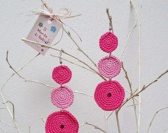 Earrings zen at 3 crochet circles with swarovski crystal rhinestones.
