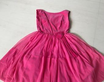 Pretty 1950s velvet chiffon dress