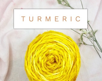 Turmeric - yarn - naturally dyed yarn - hand dyed yarn - botanical dye - merino yarn - free shipping - worsted weight yarn - wool yarn