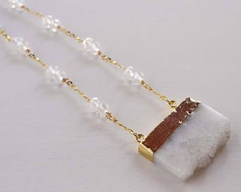 Druzy necklace, white druzy necklace, stainless steel necklace, necklace with white crystals, white druzy, necklace natural stone