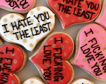 Heart Cookies-Funny Cookies-Valentines Day-Youre Freaking Awesome Cookies-I Freaking Love You Cookies-Anniversary Cookies-Best Friend Gift