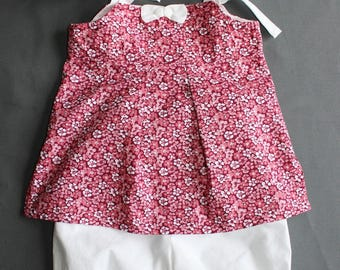 Adorable outfit, tunic with straps and pantacour size 18 months / 2 years, raspberry/Burgundy floral print
