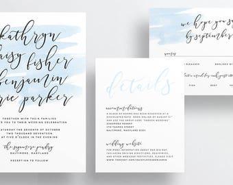 Simple Calligraphy Wedding Invites / Sky Blue Watercolor / Semi-Custom Wedding Invitation Suite / Print-at-Home Invitations