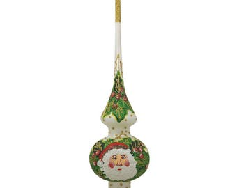 "11"" Santa Claus White and Gold Mistletoe Glass Christmas Tree Topper"