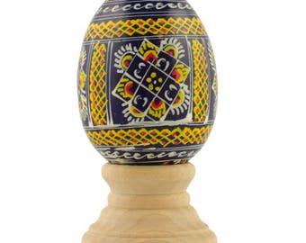 Dark Blue Ukrainian Wooden Easter Egg