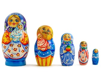 6.5'' Set of 5 Newborn Baby First Wooden Nesting Dolls Matryoshka