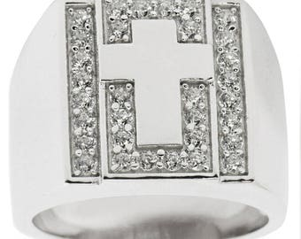 Cross on Crystals Sterling Silver Men's Ring (Size 9)