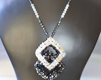 Necklace big diamonds haematite 2x-crystal ab2x