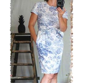 french vintage 90 s toile de Jouy floral S/M motif dress romantic shabby cotton