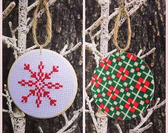 Snowflake Ornament, Christmas Ornament, Holiday Ornament, Cross Stitch Art