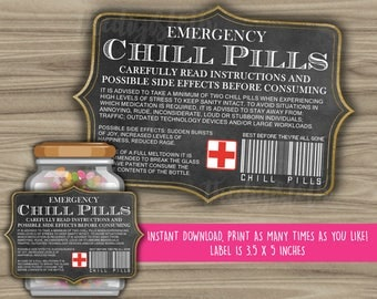 Chill Pills Printable Chalkboard Label - Funny Gift - INSTANT DOWNLOAD - Christmas Gift For Boss - CoWorker - Work Office Gag Gift - PL07