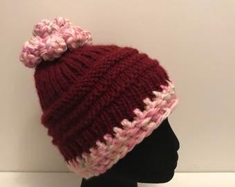 Burgundy and pink beanie hat, ski hat