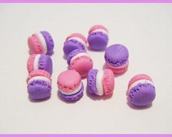 Set of 10 miniature polymer clay macarons for sweet treats kawaii vial