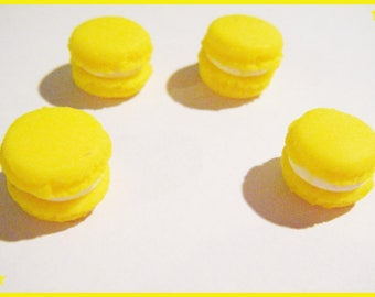 4 cabochons yellow macarons in polymer clay - jewelry - polymer decoration