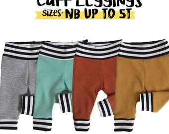 Baby cuff leggings. Choose size and fabric. Newborn up to 5t. No elastic waist/stretchy waistband baby leggings