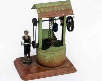 VERY RARE Working 1950 Antique Tinplate Boy at Well Fleischmann German Tin Toy Vintage Stamped Metal Made in Germany Buckets Chain Operated