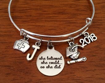 Nurse gift, nurse graduation gift, nurse graduate gift, nurse bracelet, nurse graduation jewelry, jewellery, she believed she could college