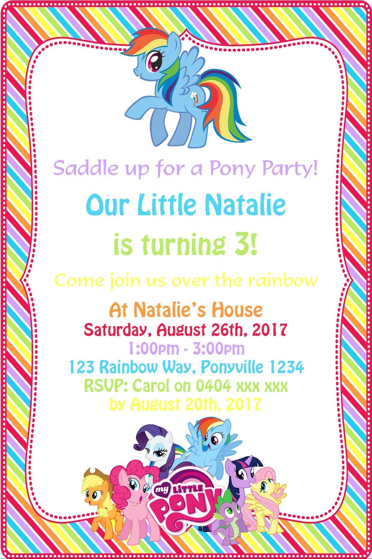My Little Pony Invitation My Little Pony Birthday My Little