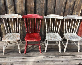 Farmhouse Chairs Etsy - French country kitchen chairs