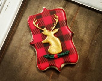 Christmass Deer with Plaid Background - One Dozen