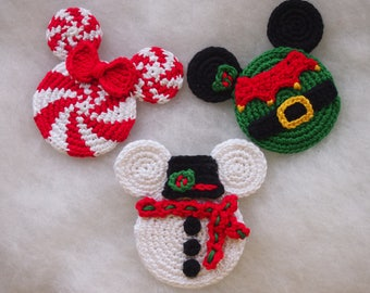Mickey Mouse Minnie Mouse crochet pattern, Christmas Ornament, Christmas Elf, Snowman, Christmas Candy