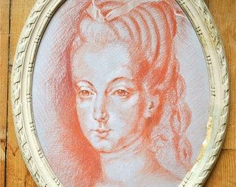18th century portrait, original blood with the original frame.