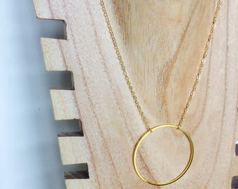 XL gold plated Saturn necklace delicate fine jewelry designer Miss VK female
