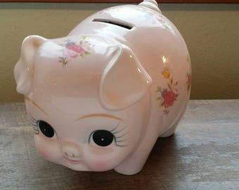Vintage Lefton Pink Piggie Bank with Roses