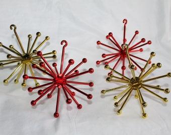 Vintage Atomic Molecule Sputnik Christmas Ornaments 1950's Starburst