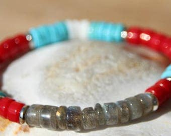 Bracelet with red coral and labradorite