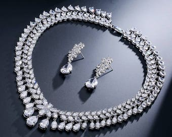 Cubic Zirconia Necklace Set Bridal CZ Jewelry