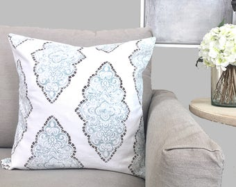 Blue Gray Floral Pillow Cover